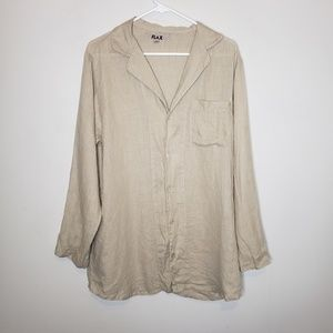 Flax Linen Oversized Button Down Tunic Blouse